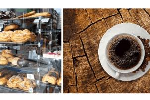 Eine Auslage beim Bäcker von verschiedenen süßen Snacks sowie ein Bild einer Tasse Kaffee