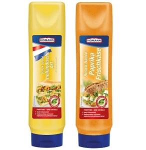 Auf dem Bild sind die beiden Snacksaucen des Herstellers Homann zu erkennen. In den großen Tuben befindet sich links einmal die Sauce holländische Art und rechts die Snacksauce Paprika frischkäse