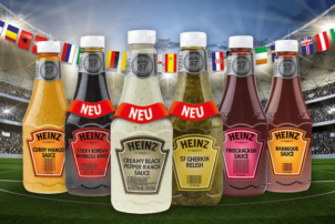 Verschiedene Snack Saucen von Heinz. Darunter Curry Mango Sauce, Sticky Korean Barbecue Sauce, Creamy Black Pepper Ranch Sauce, 57 Gherkin Relish, Firecracker Sauce und Barbeque Sauce