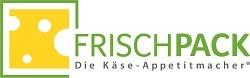 """Auf dem Bild ist das neue Logo des Käse-Herstellers Frischpack zu sehen. In Großbuchstaben steht in grüner farbe der Fimenname geschrieben. Links davon befindet sich ein Stück Käse, welches von einem grünen Quadrat umgeben ist. Unter dem Herstellernamen steht """"Die Käse Appetitmacher"""". Der Hintergrund ist weiß."""