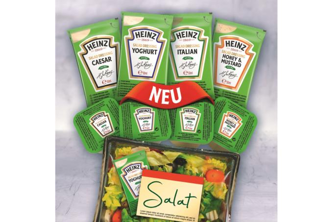 Verschiedene Salatdressing von Heinz. Unter anderem Caesar, Yoghurt, Italian und Honey & Mustard