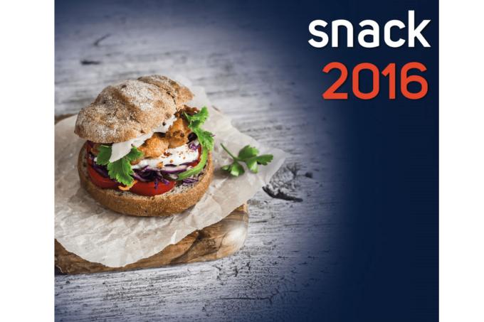 Das Logo der snack 2016 mit einem Burger abgebildet