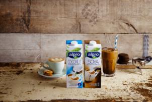 Die Milchalternativen Soya-Milch und Kokosnuss-Milch stehen vor einer Steinwand. Neben der Kokosnuss-Milch befindet sich ein Kakaoin eine Latte Macchiato Glas mit einem Strohalm, links von der Soya-Milch ist ein Cafe Crema zu sehen.