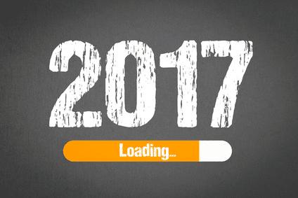 Auf grauem Hintergrund steht das Jahr 2017 in weiß geschrieben. Dadrunter befindet sich eine orangene Loading-Zeile, die bis zu 80% voll ist.