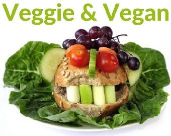 Dunkles Brötchen auf einem Salatblatt, als Gesicht gestaltet. Gurken Ohren, Tomaten Augen, Weintrauben Haare, und Gemüse Zähne. Das Bild hat die grüne Überschrift, Veggie und Vegan