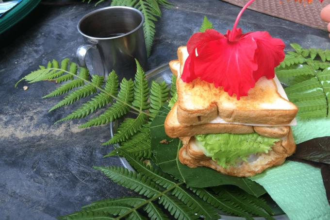 Ein Sandwich aus Weizentoast drapiert auf großen Blättern. Belegt mit geschmolzenem Käse, Salat und einem Spiegelei. Darauf liegt eine große rot-pinke Blume. Daneben ist in einem weißen, leicht tranzparenten Kasten in grüner Schrift geschrieben: Ausländische Einflüsse auf Snacks.