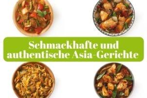 Auf dem Bild sind vier verschieden Schalen mit unterschiedlichen asiatischen Gerichten zu sehen. Oben links ist das thailändische Gericht zu sehen. In der Holzschale befindet sich Rindfleisch mit Basilikum und Gemüse in einer rot-braunen Soße. Oben rechts ist das japanische Gericht Hühnchen Terriyaki, welches mit Karotten und weiterem Gemüse in einer braunen Soße serviert wird. Unten links sind gebratene Nudeln in einer Holzschale zu erkennen, die mit Hühnchen, Erbsen und weiterem Gemüse zu einem leckeren chinesischem Gericht gezaubert werden. Die letzte Schüssel ist das Peking Hühnchen aus China. Zusammen mit zartem Hühnchenfleisch, Sprossen und weiterem Gemüse ergibt das ein leckeres authentisches chinesisches Gericht.
