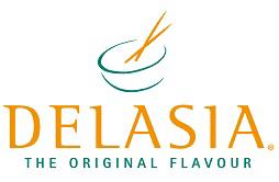 Logo von Delasia,Convinience mit großem schriftzug in Oronge, und kleinerem grünen Schriftzug in Grün mit dem Slogan the original flavour. Als Logo ist eine grüne, mit einzelnen strichen gezeichnete Schüssel, mit orongen Essstäbchen über dem Schriftzug zu sehen.