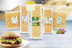 Auf dem Foto erkennt man die unterschiedliche Asuwahl des neuen würzigen Käses von Frischpack. Der Käse ist abgepackt und in einer auslaufenden Pyramide aufgestellt. Die drei vorderen Sorten sind Scheibenkäse. Diese eigenen sich besonders gut für Burger, deshalb ist vorne links in der Ecke auch ein Burger abgebildet, mit Brötchen, dem würzigen Käse von Frischpack, Salat, Tomate und einem Burger-Patty. Die beiden hinteren Sorten des Käsesortiments sind bereits geschnitten bzw. gerieben.