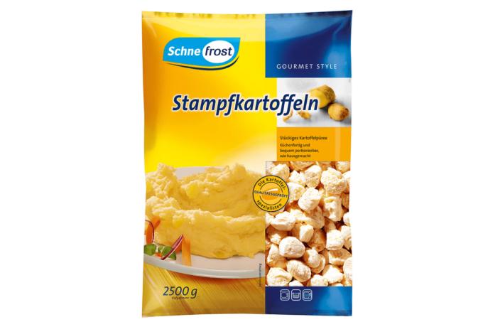 Auf dem Foto ist die Verpackung der Stampfkartoffeln von Schne-frost zu sehen. Sie ist zu 2/3 gelb und einem drittel in blau gehalten.