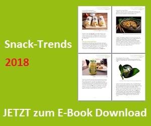Das Banner für den Download für das E-Book zum Thema Aktuelle Snacktrends 2018