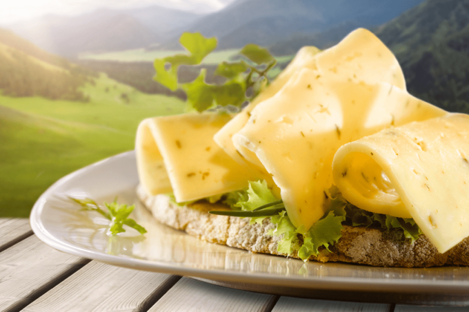 Auf dem Foto ist ein BUtterbrot mit drei eingerollten Käsescheiben zu sehen. Der Käse ist der neue würzige Käse von Frischpack. Auf dem Käsebrot befindet sich unter dem Käse ebenfalls noch Salat. Das belegte Brot liegt auf einem weißen Teller, auf einem hell-grauen Holztisch. Im Hintergrund ist eine Landschaft aus Wiesen und Bergen zu erkennen. Die Wiesen sind grün und die Berge verschimmen in einer weiß-grau und bläulichen Farbe.