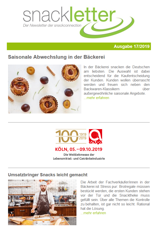 Newsletter 17/19 | snackconnection