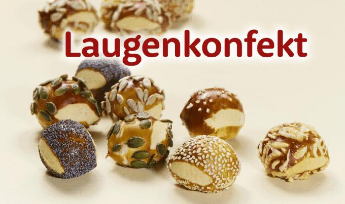 Auf dem Foto sind die verschiedenen Arten des Ditsch Laugenkonfektes zu sehen. Die kleinen runden Bälle, sind mit Sesam, Kürbiskernen, Chia oder ähnlichem bestreut.