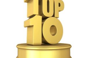 Eine Goldene Top 10 in Großbuchstaben steht auf einem Podest und schaut aus wie ein Pokal.