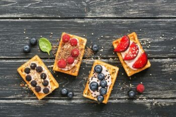 Eckige Waffeln mit Toppings Eipro / snackconnection