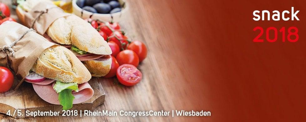 Das Logo der snack 2018 mit zwei Sandwiches abgebildet