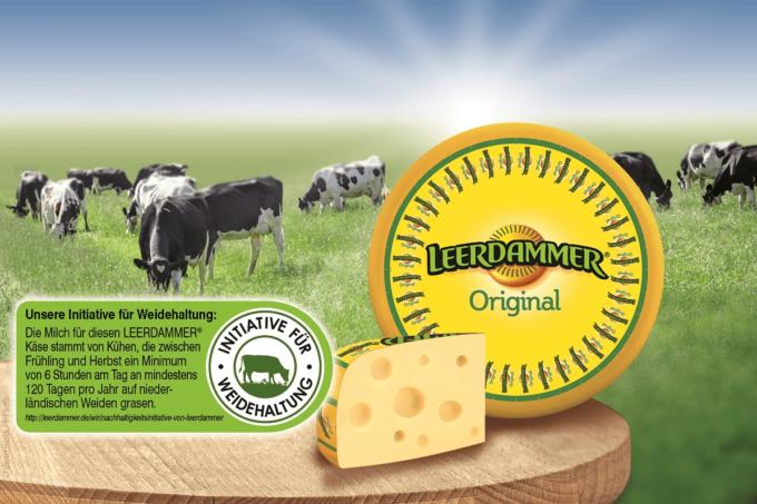 Auf dem Bild ist eine grüne Weide mit Kühen abgebildet. Im Vordergrund befindet sich auf einem Holztisch eine Laibe des Käses vor Leerdammer, vom Hersteller Bel Foodservice. Außerdem ist ebenfalls ein Stück der Käselaibe auf dem Tisch drauf. Links vom Käse befindet sich die Information, dass der Leerdammer Käse nun mit einem Siegel verziert wird, welches verdeutlicht, dass sie sich für die Weidehaltung einsetzen und die Bauern und ihre Kühe unterstützen.