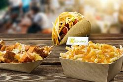 Frischpack: Auf dem Bild sind Pommes, ein Taco und Maccharonie mit Käse überbacken zu sehen.