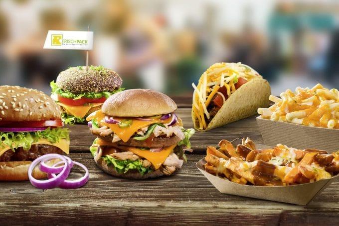 Frischpack: Burger, Pommes und Co. auf dem Bild mit Frischpack cheddar zubereitet.