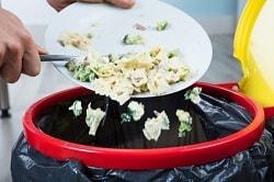 Auf dem Bild sieht man, wie ein Teller mit Essensresten in den Mülleimer geworfen wird. Über den Mülleimer ist ein schwarzer Müllsack zu sehen.