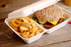 Rausch Verpackung. Auf dem Bild ist eine zwei Kammer Take-Away-Verpackung zu sehen, in der ein Burger und Pommes-Frites verpackt sind. Der Deckel steht halb offen.