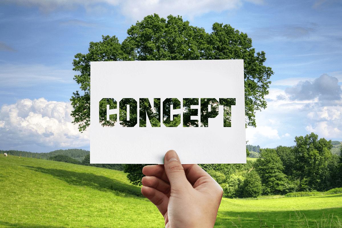 Auf dem Foto ist im Hintergrund eine Landschaft zu erkennen mit blauen Himmel, wenigen Wolken und einer grünen Wiese. in Der Mitte befindet sich ein großer grüner Baum. Direkt vor einem Baum wird von der Hand einer Person ein weißer Zettel in die Luft gehalten, auf dem das Wort Concept ausgestanst ist.