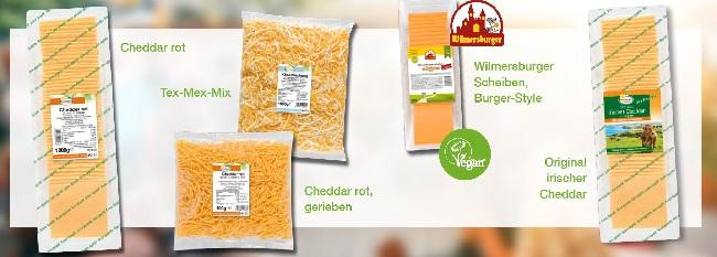 Alle 5 Chaddar- Käsesorten von Frischpack in Ihrer Verpackung in der Sie zu erwerben sind, sind auf deisem Bild zu sehen,