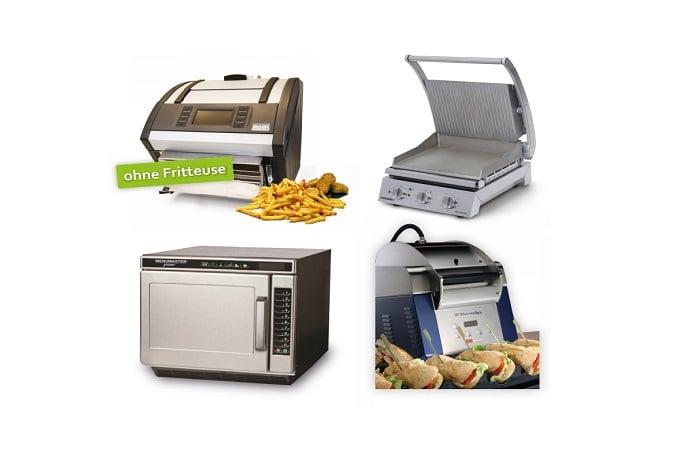 Verschiedene Snackgeräte wie Öfen und Grills von Gastrolution