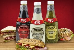 Snack Saucen von H.J. Heinz Kraft. Darunter Creamy Black Pepper Ranch Sauce, 57 Gherkin Relish und Sticky Korean Barbecue Sauce