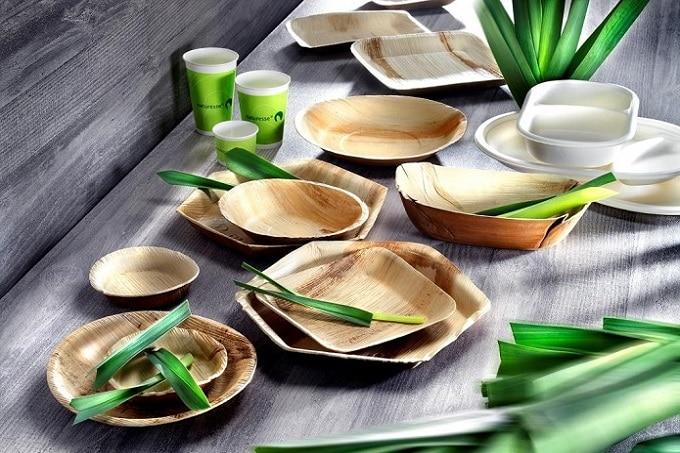 Snack Geschirr und Verpackungen aus Palmblatt von Bionatic