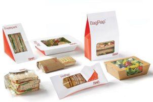 Mehrere Snack Verpackungen von RAP. Darunter Freshpack und BagRap für Sandwiches und HotRap für heiße Snacks