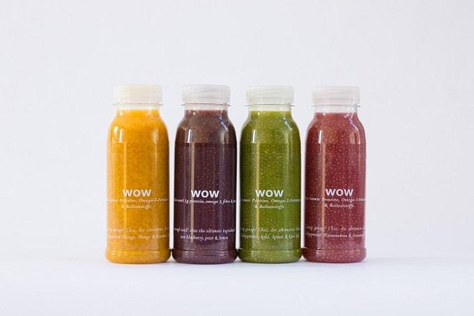 Vier verschiedene Chia Smoothies von WOW