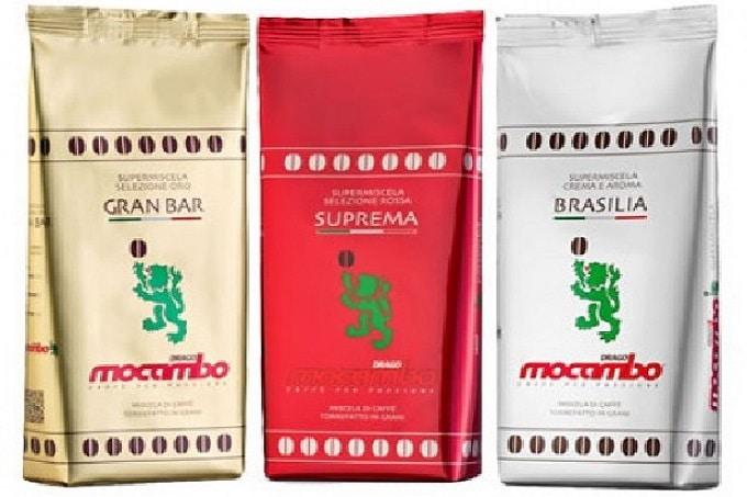 Drei Kaffeesorten von Mocambo. Gran Bar, Suprema und Brasilia