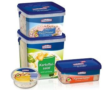 HOMANN Foodservice. Auf dem Bild sind Salat- Eimer in verschiedenen Gebindegrößen zu sehen. Es gibt vier verschiedene Gebindegrößen, welche alle eckig sind und Stapelbar.