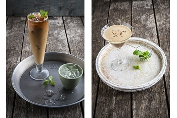 Der Kokosnuss Shakerato und Pour Over Eiskaffee mit Minze von Alpro.