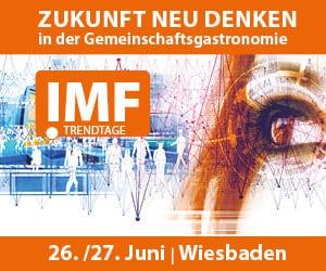 """Das Banner vom IMF für den 26. und 27. Juni in Wiesbaden unter dem Motto ,,Zukunft neu denken in der Gemeinschaftsgastronomie""""."""