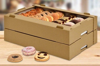 Eine sogenannte Krapfensteige von RAUSCH, welche Backwaren wie z.B. Krapfen und Donuts beinhaltet.