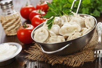 Russische Snacks russische Teigtaschen Pelmeni