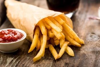 Pommes Ketchup Sauce Tüte Verpackung Heißer Snack