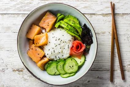 Sushi Bowl Asia Reis Avocado