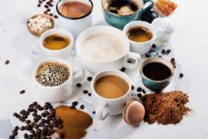 Kaffee Variationen Tassen Bohne Pulver