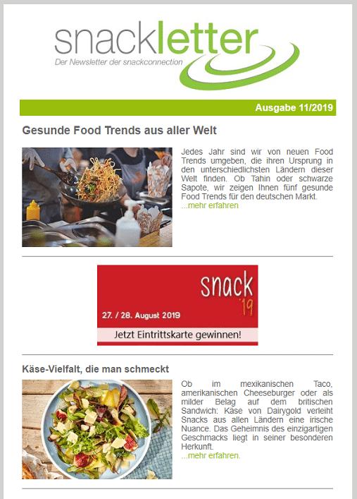 Newsletter Snackconnection snackletter gastronomie