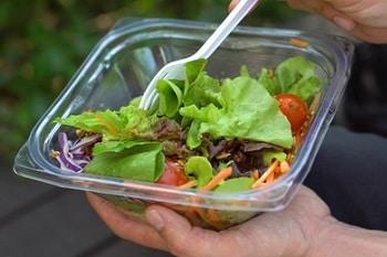Verpackung Salat Plastik To Go Gabel