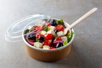 Verpackung Pappe Plastik Deckel Salat Feta Tomate
