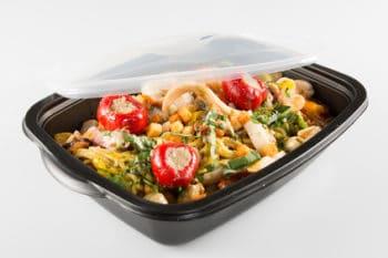 Verpackung schwarz Salat Deckel PET