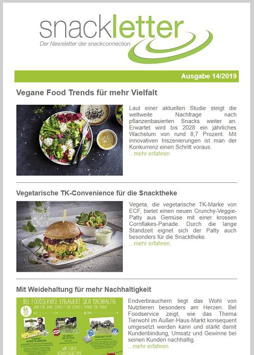 Newsletter snackconnection Vegan vegetarisch pflanzlich