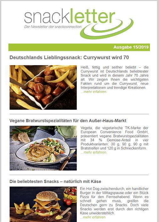 Newsletter snackconnection Lieblingssnacks der Deutschen