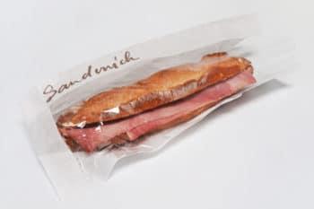Baguette mit Schinken papiertüte mit Sichtfeld Verpackungen