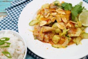 Melonensalat mit Fisch
